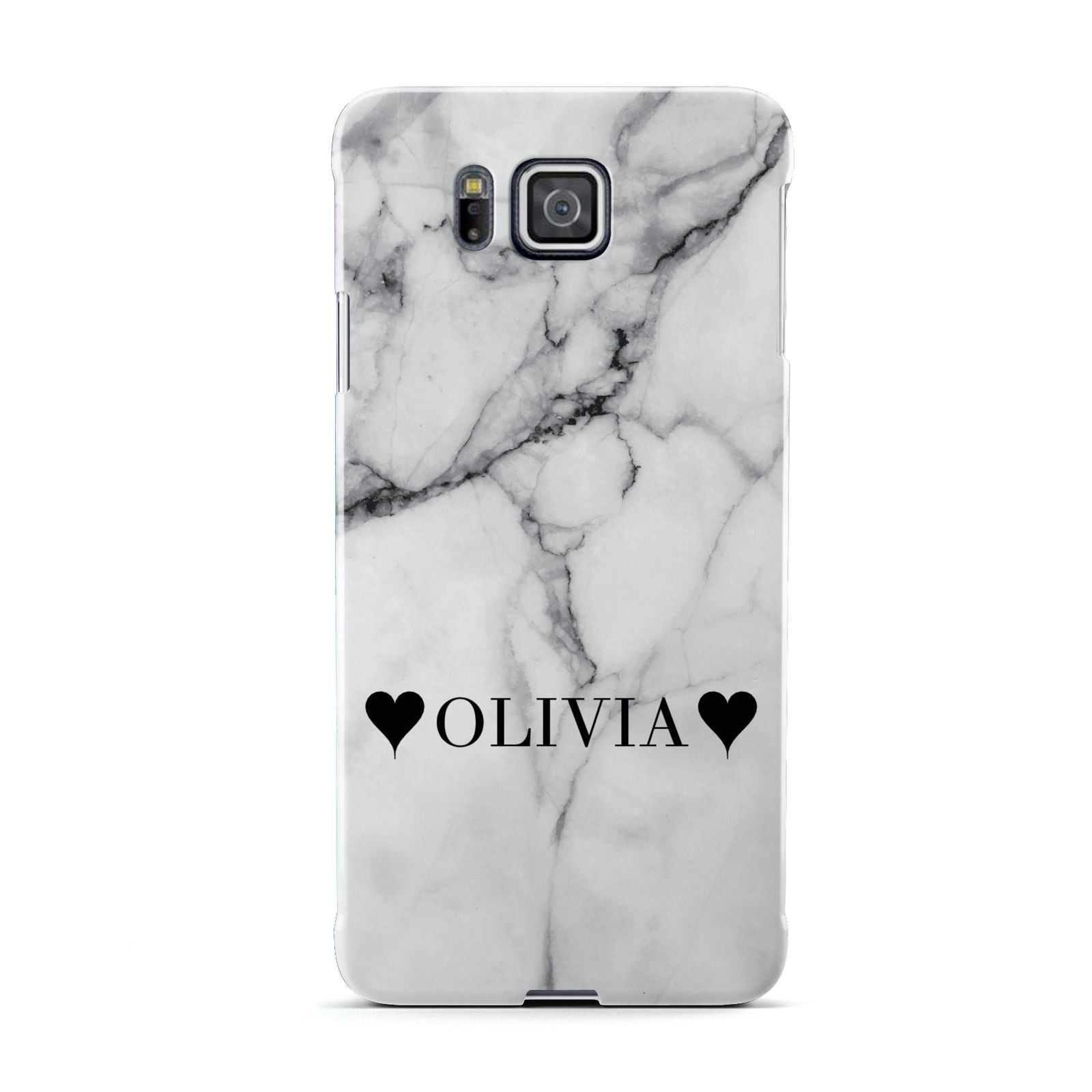 Personalised Love Hearts Marble Name Samsung Galaxy Alpha Case