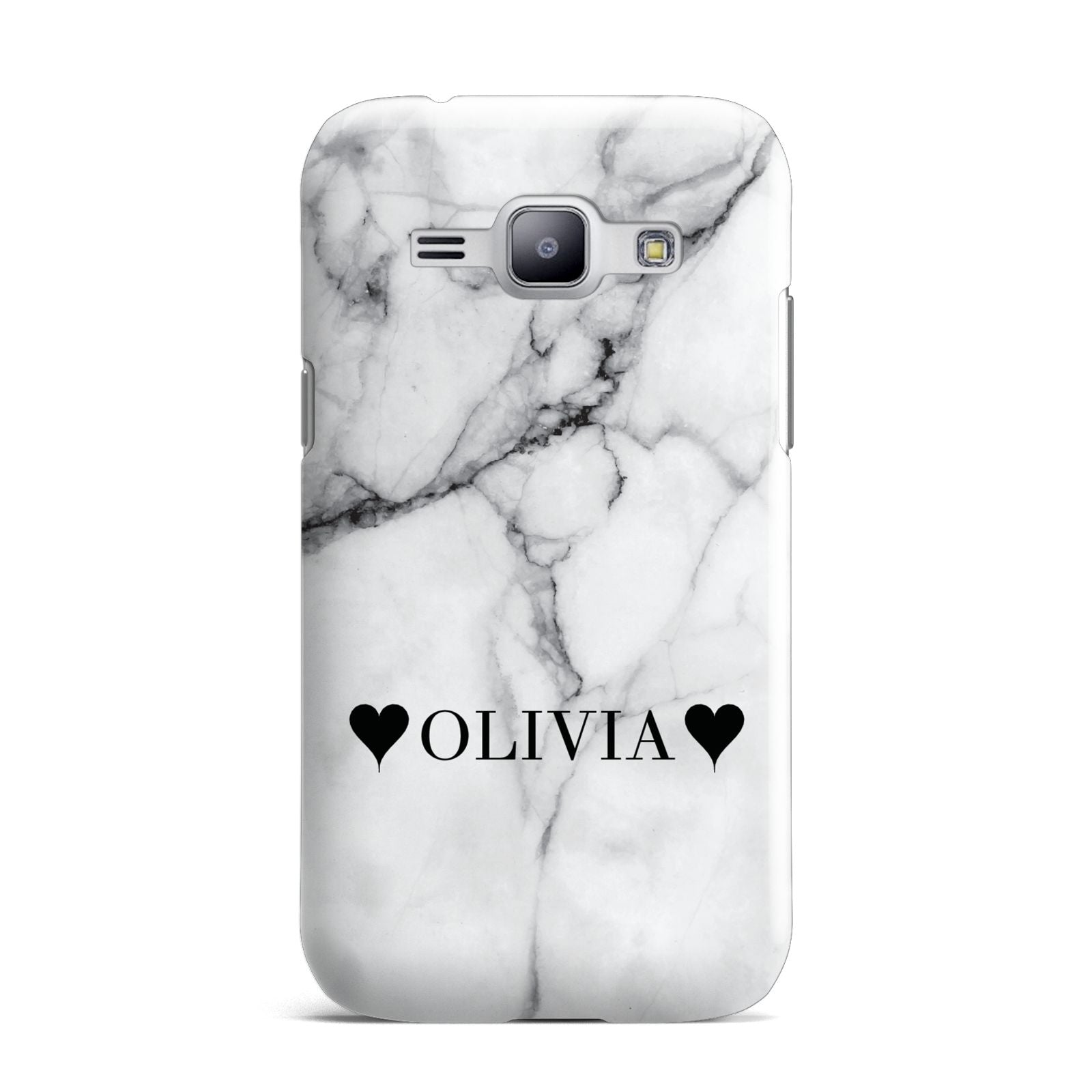 Personalised Love Hearts Marble Name Samsung Galaxy J1 2015 Case