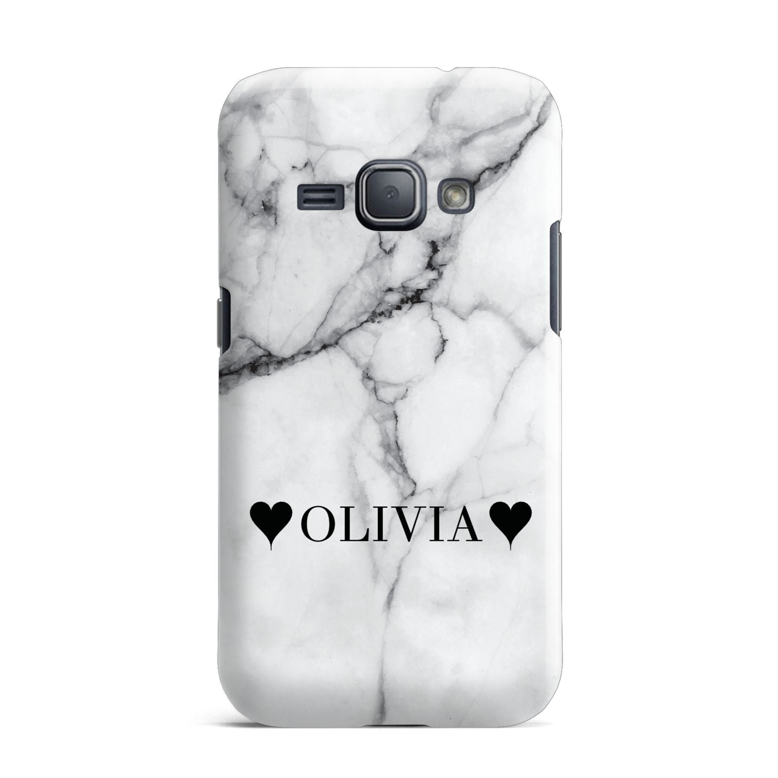 Personalised Love Hearts Marble Name Samsung Galaxy J1 2016 Case
