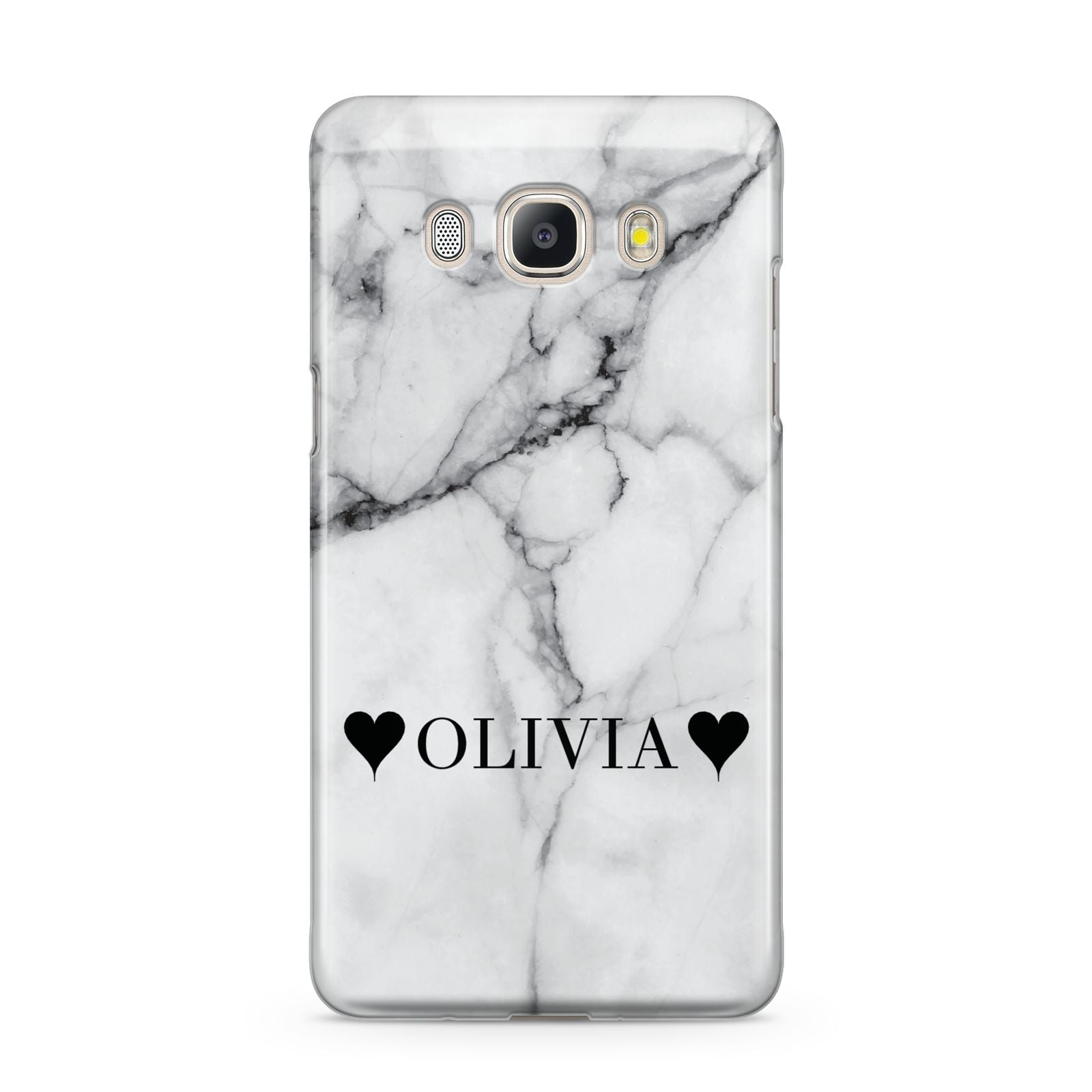 Personalised Love Hearts Marble Name Samsung Galaxy J5 2016 Case