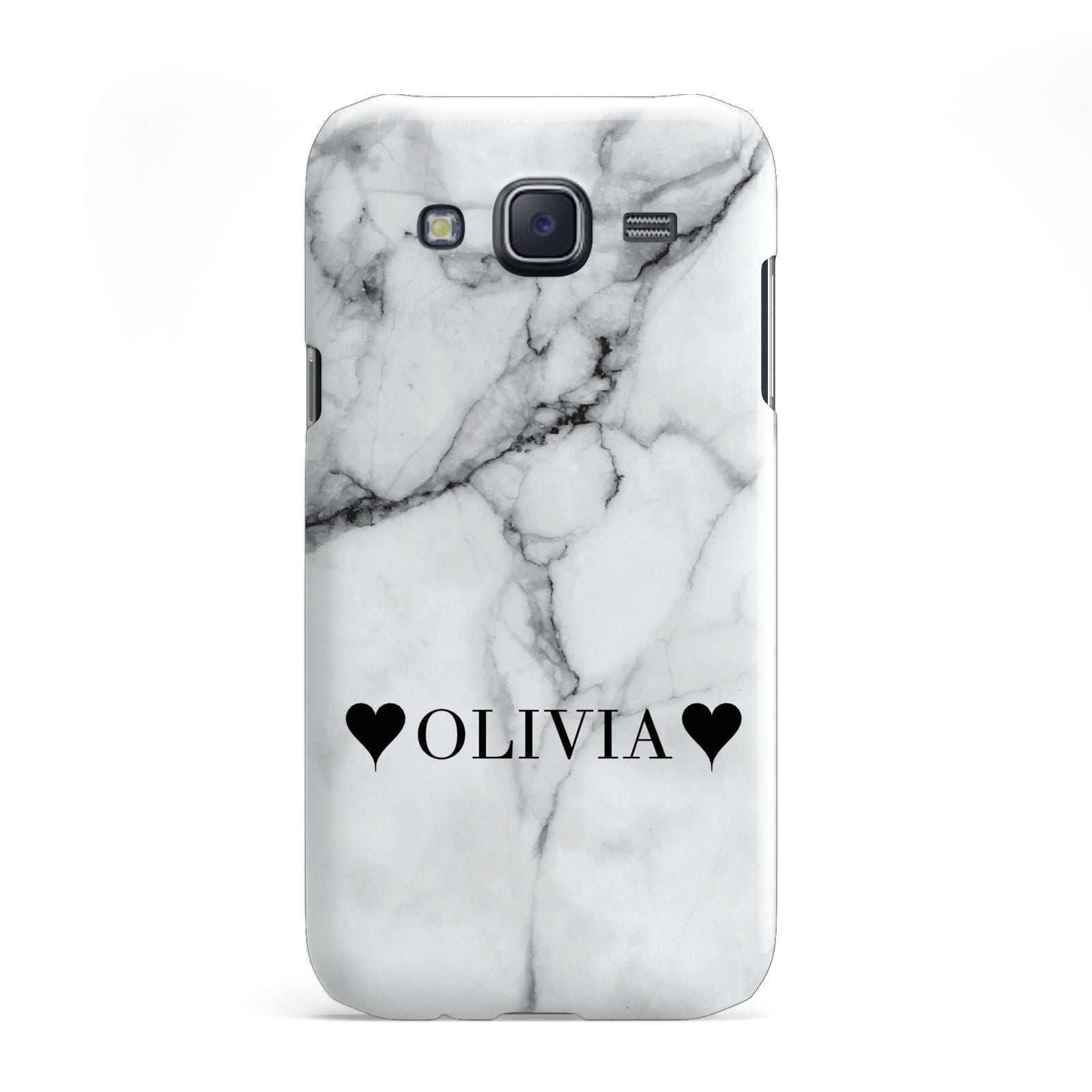 Personalised Love Hearts Marble Name Samsung Galaxy J5 Case