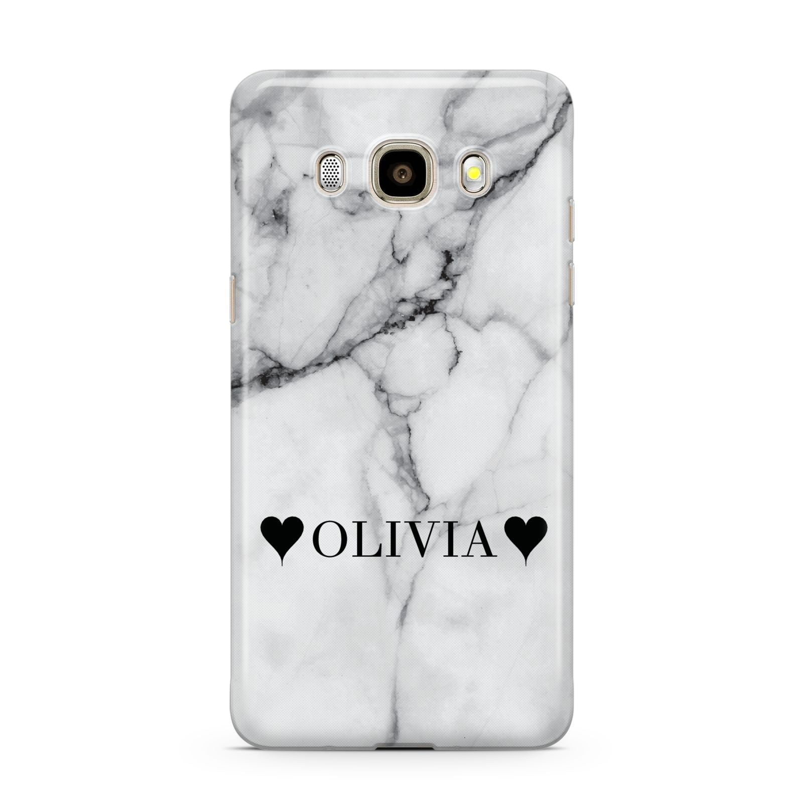 Personalised Love Hearts Marble Name Samsung Galaxy J7 2016 Case on gold phone