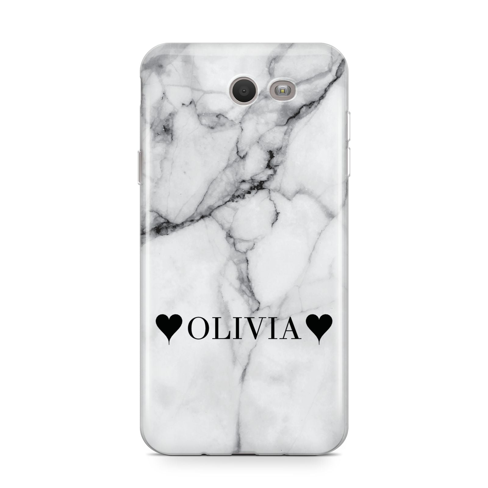 Personalised Love Hearts Marble Name Samsung Galaxy J7 2017 Case