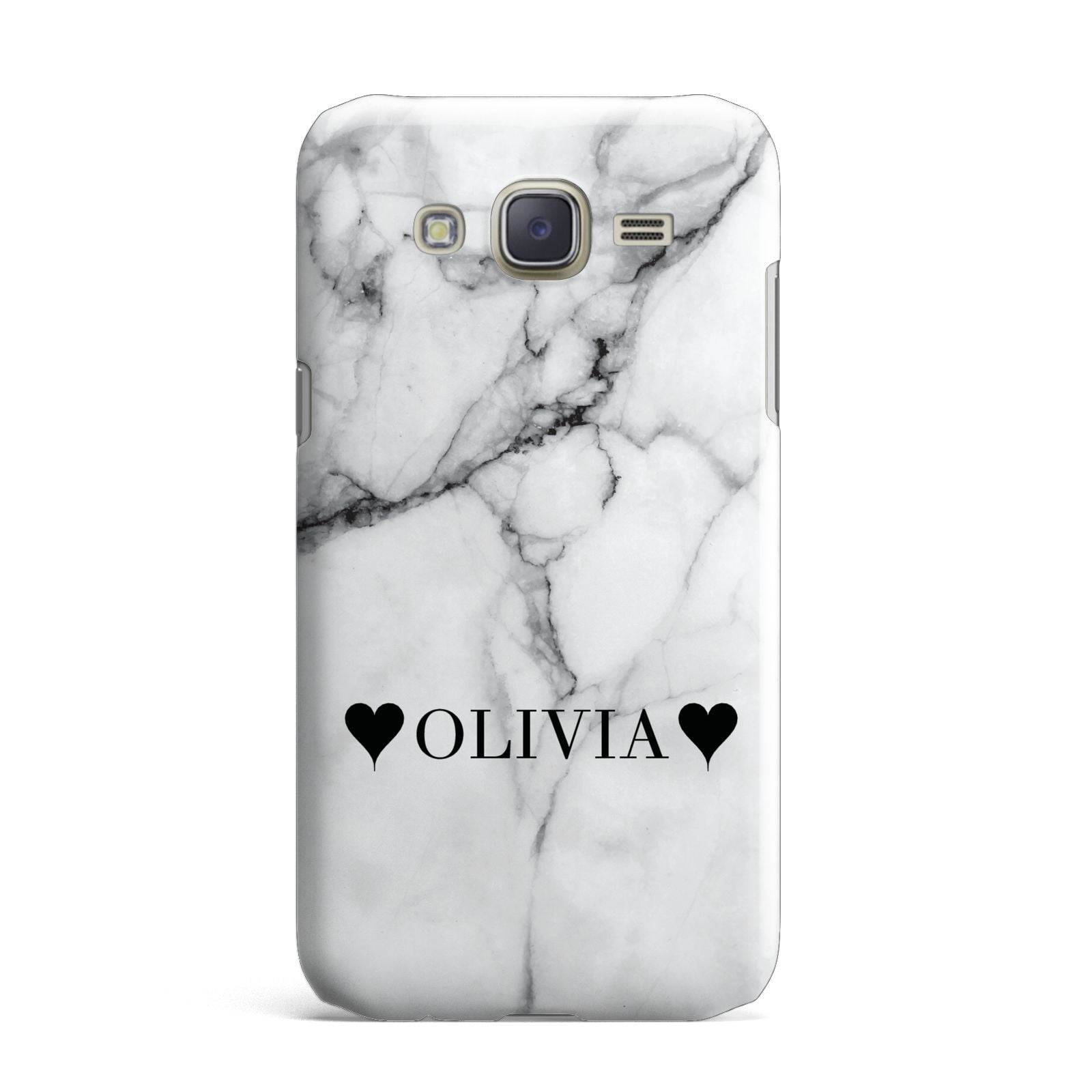 Personalised Love Hearts Marble Name Samsung Galaxy J7 Case