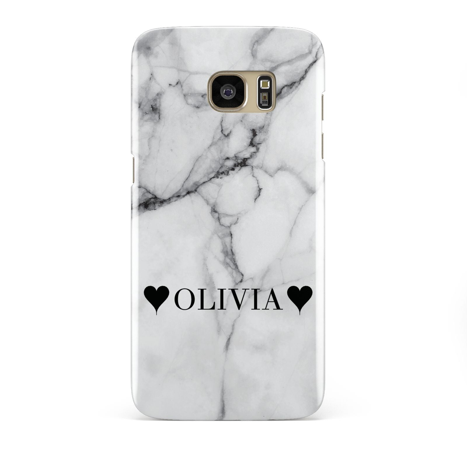 Personalised Love Hearts Marble Name Samsung Galaxy S7 Edge Case
