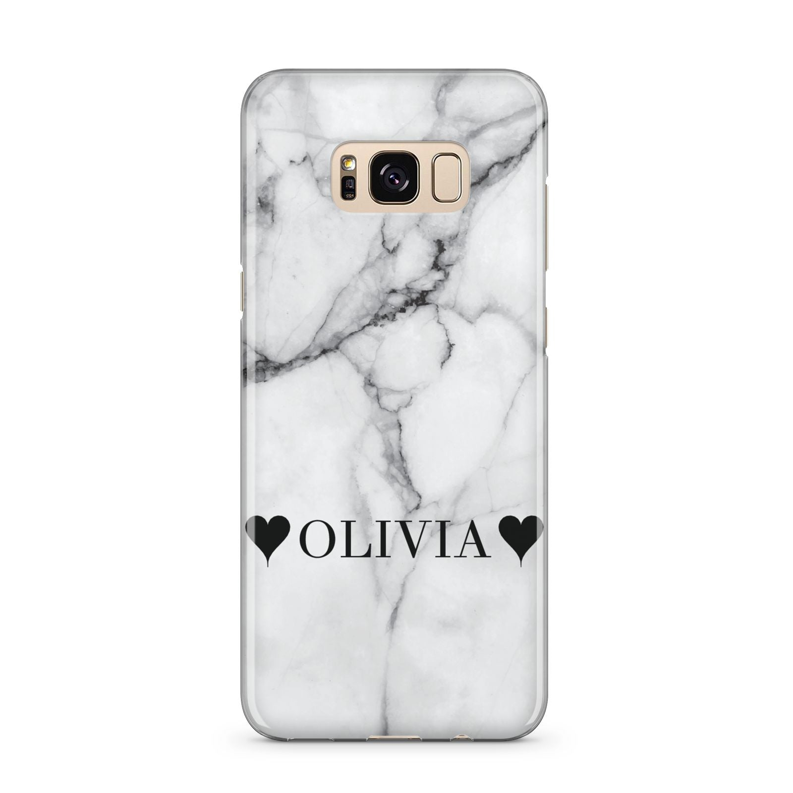 Personalised Love Hearts Marble Name Samsung Galaxy S8 Plus Case