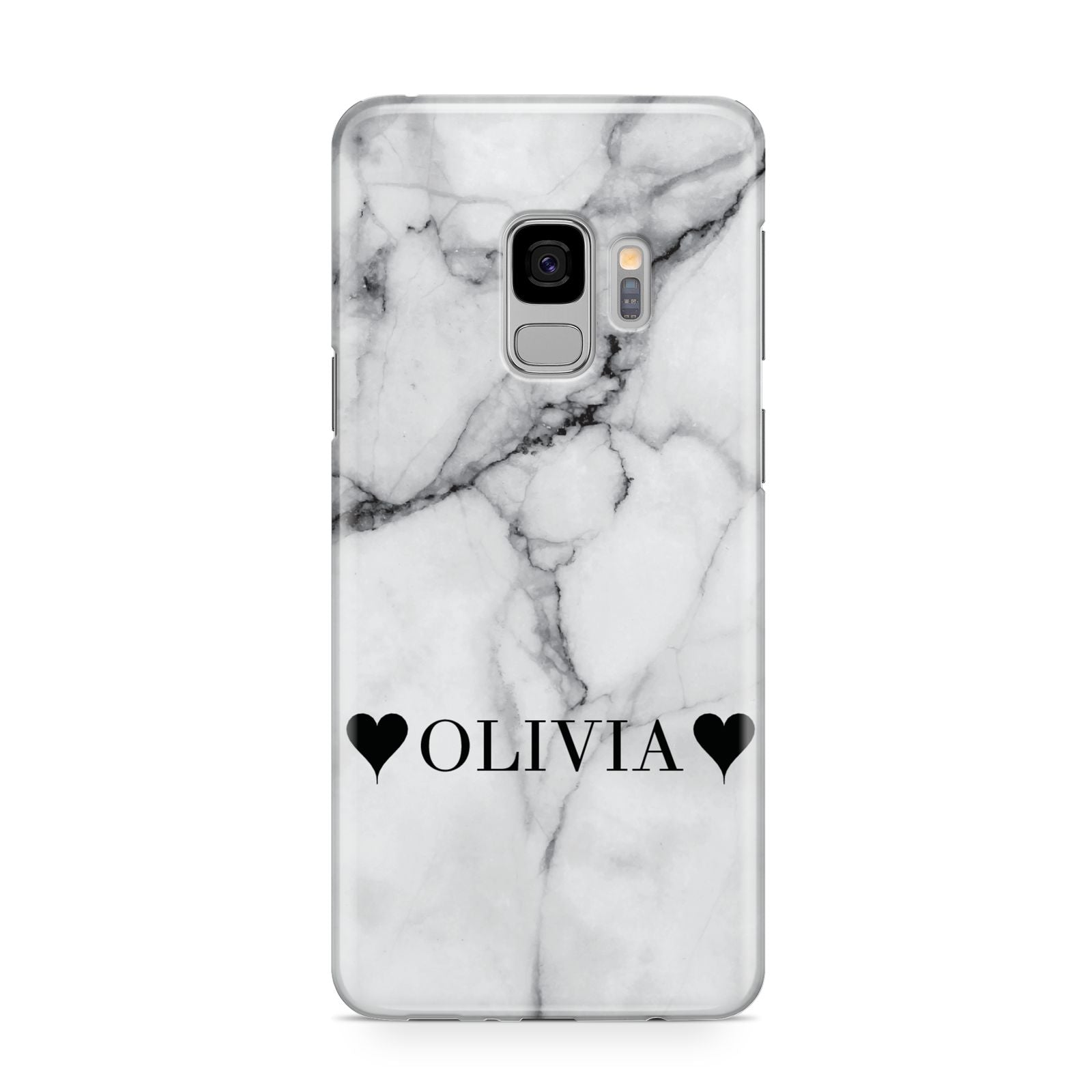 Personalised Love Hearts Marble Name Samsung Galaxy S9 Case