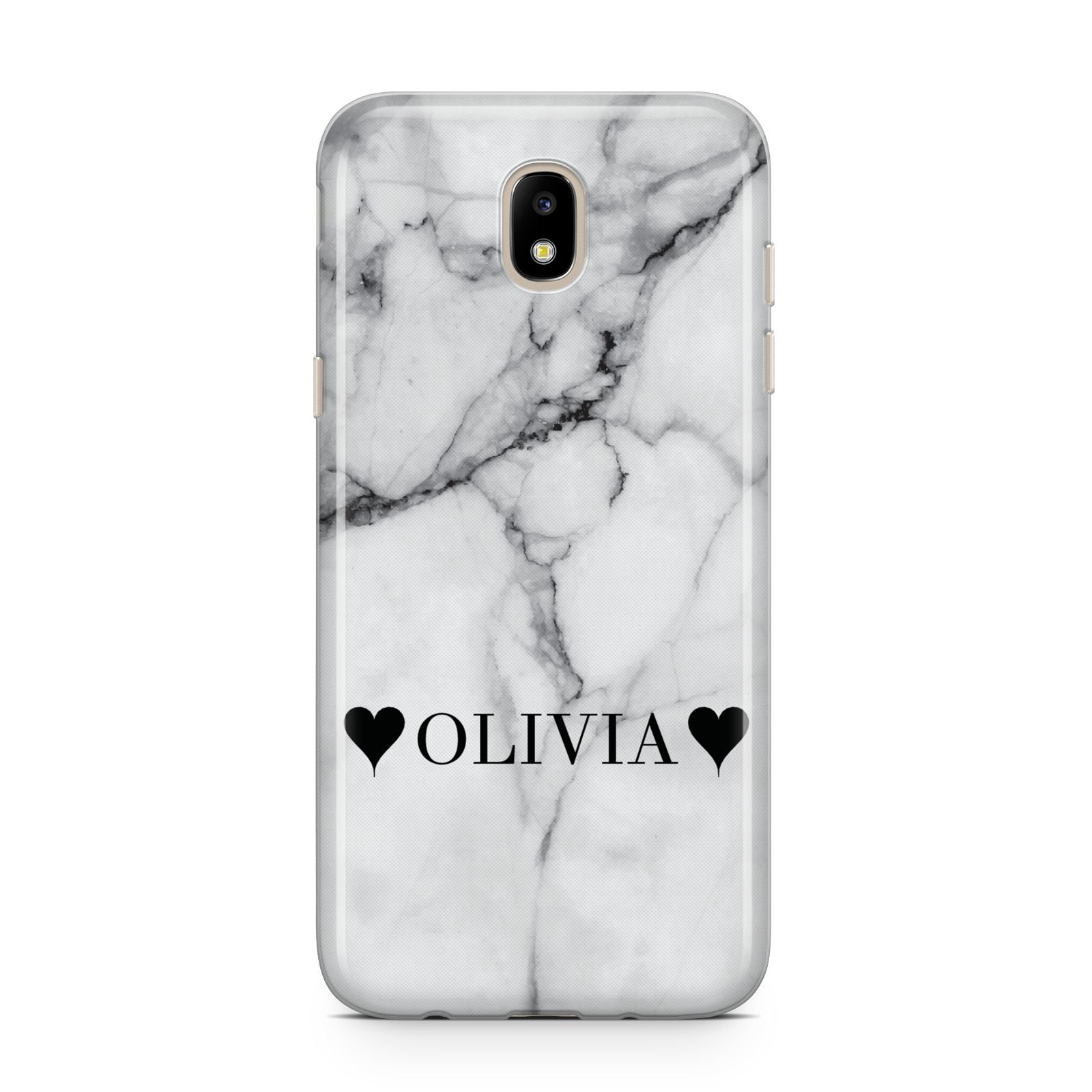 Personalised Love Hearts Marble Name Samsung J5 2017 Case