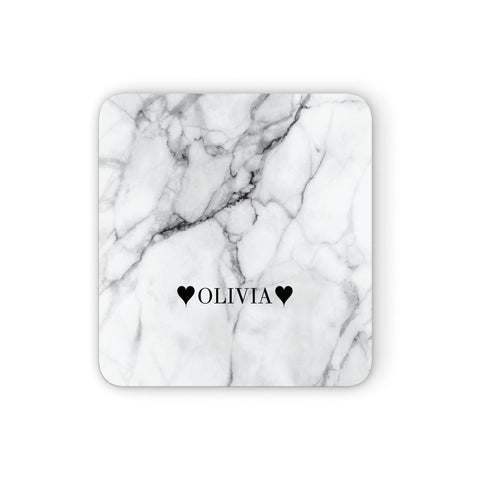 Personalised Love Hearts Marble Name Coasters set of 4