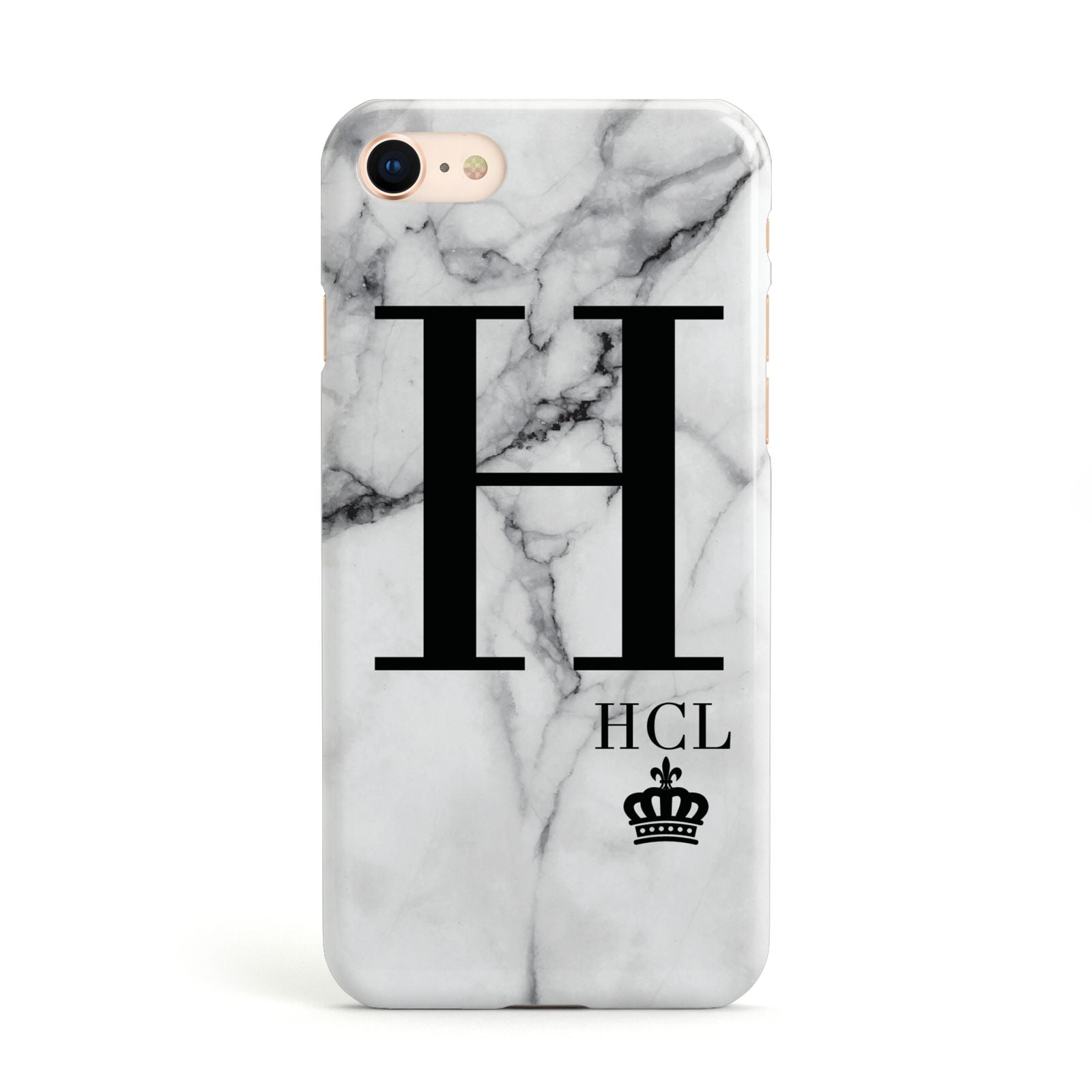 Personalised Marble Big Small Initials Apple iPhone Case