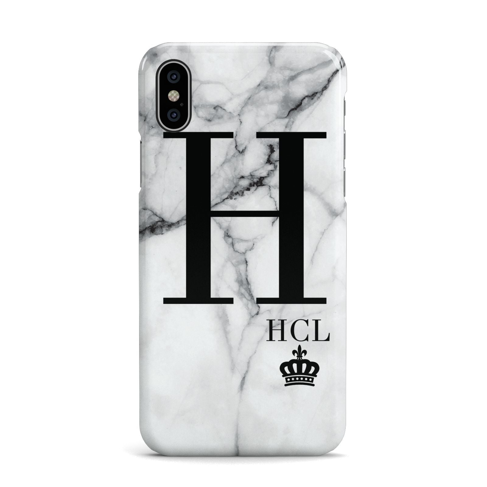 Personalised Marble Big Small Initials Apple iPhone X Case