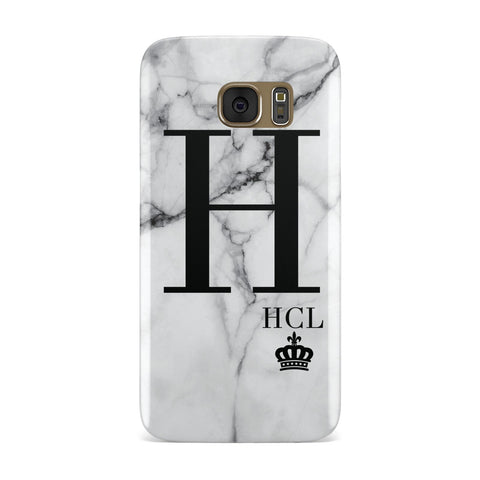 Personalised Marble Big & Small Initials Samsung Galaxy Case