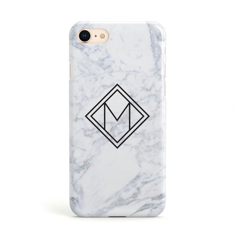 Personalised Marble Customised Initials Apple iPhone Case