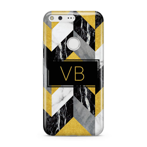 Personalised Marble Effect Initials Google Case