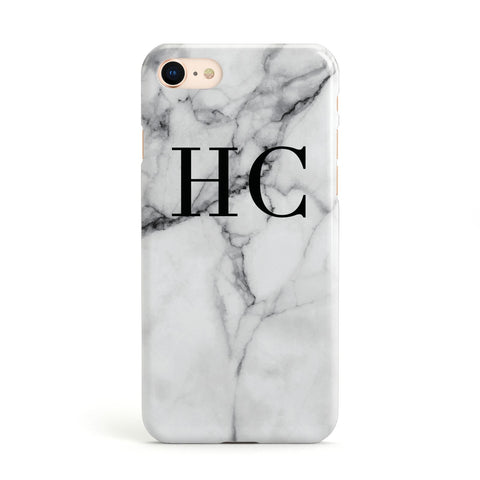 Personalised Marble Effect Initials Monogram Apple iPhone Case