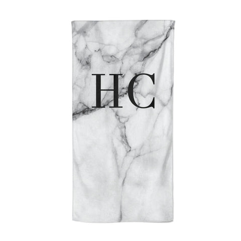 Personalised Marble Effect Initials Monogram Beach Towel