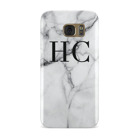 Personalised Marble Initials Monogram Samsung Galaxy Case