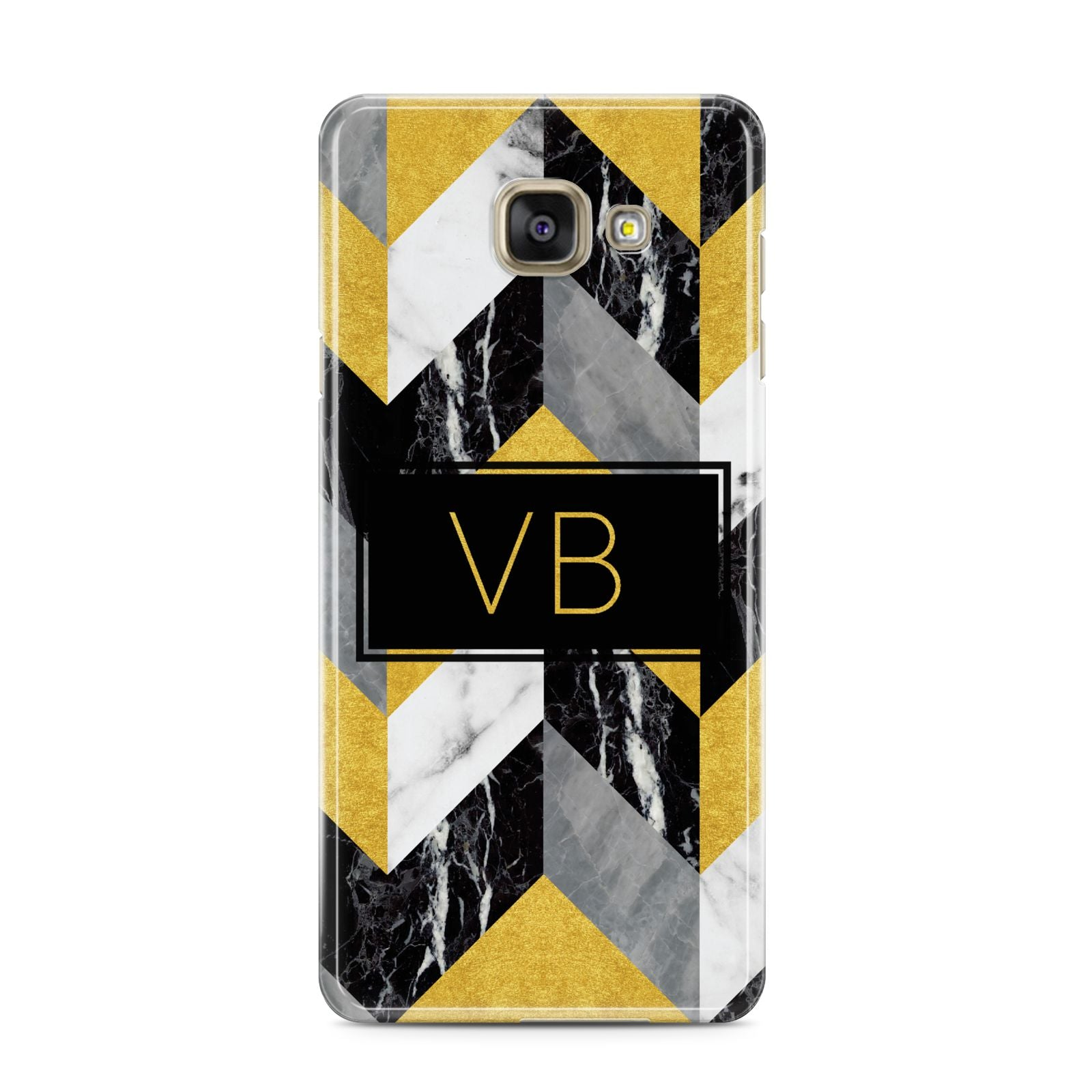 Personalised Marble Effect Initials Samsung Galaxy A3 2016 Case on gold phone