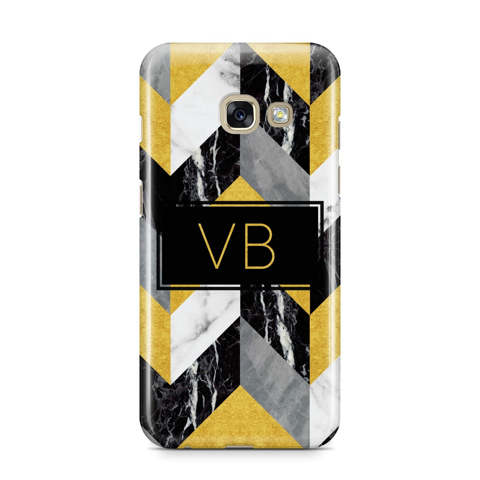 Personalised Marble Effect Initials Samsung Galaxy A3 2017 Case on gold phone