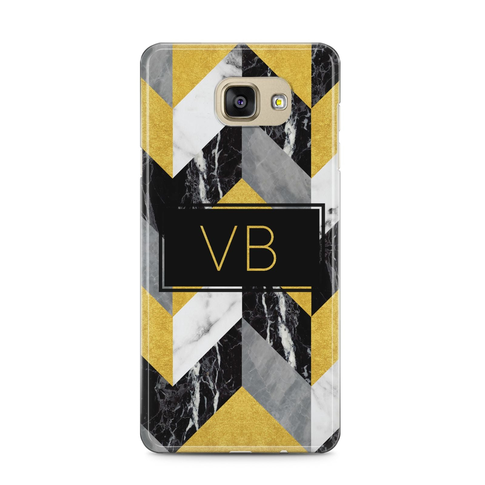 Personalised Marble Effect Initials Samsung Galaxy A5 2016 Case on gold phone