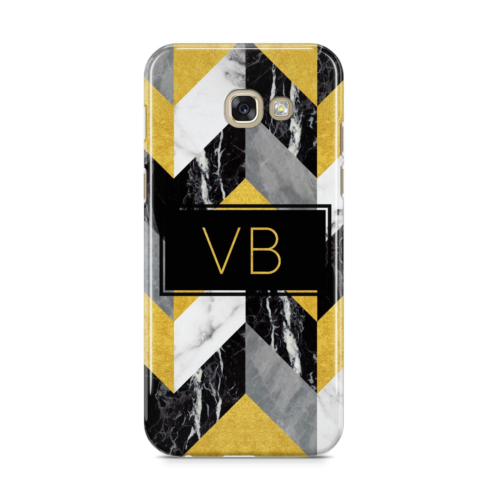 Personalised Marble Effect Initials Samsung Galaxy A5 2017 Case on gold phone