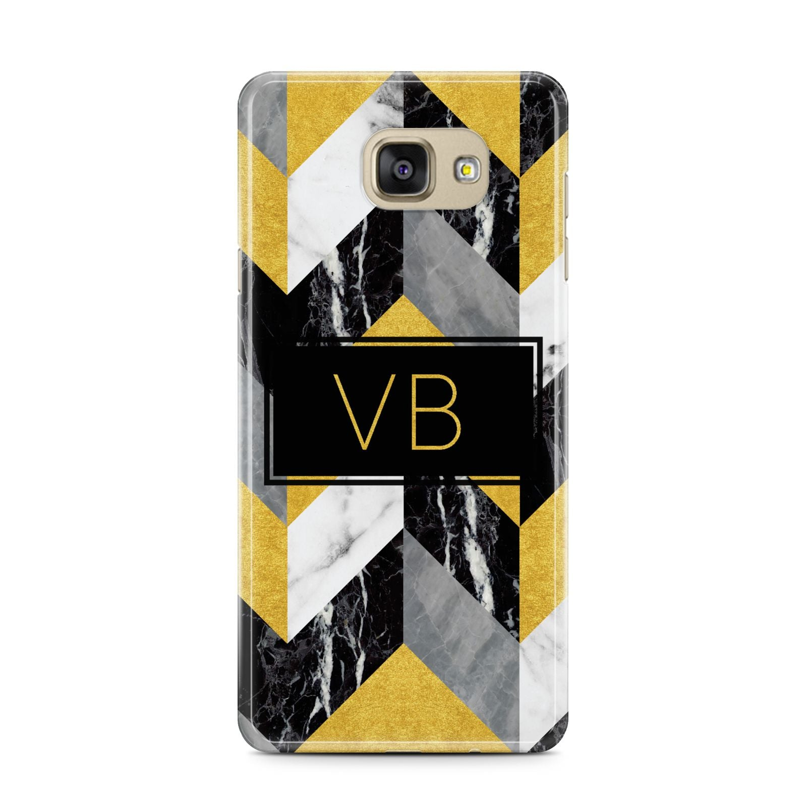 Personalised Marble Effect Initials Samsung Galaxy A7 2016 Case on gold phone