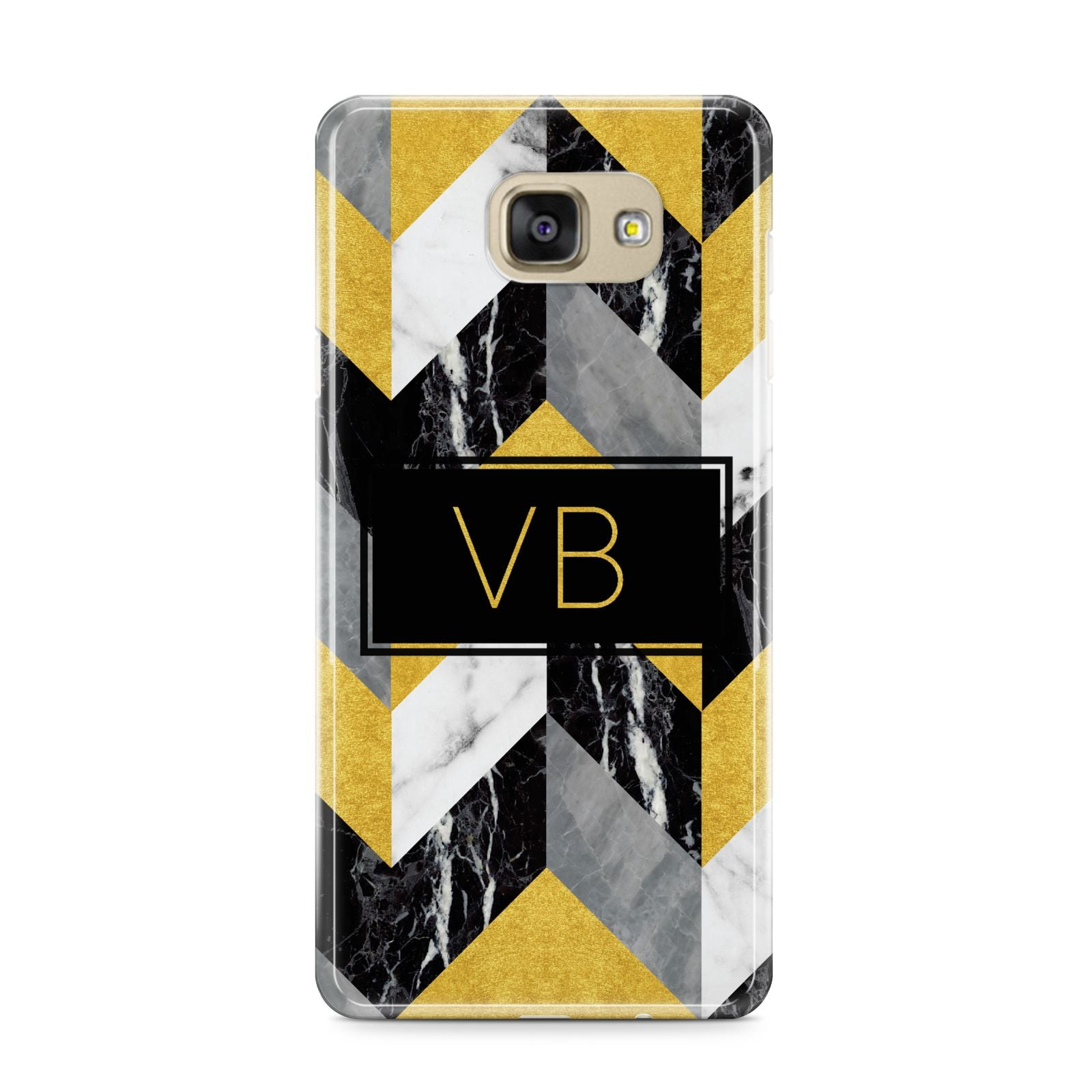 Personalised Marble Effect Initials Samsung Galaxy A9 2016 Case on gold phone