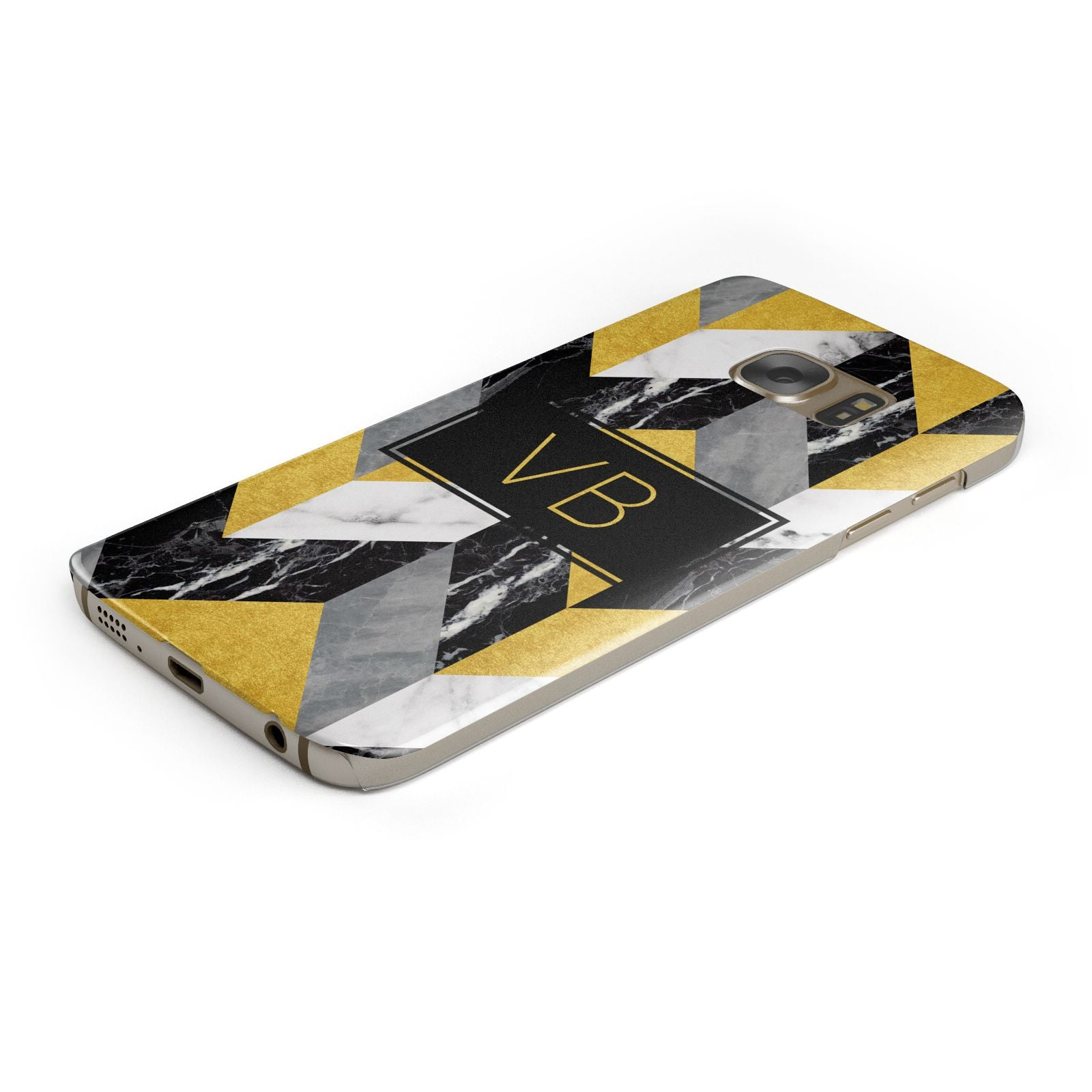 Personalised Marble Effect Initials Samsung Galaxy Case Bottom Cutout