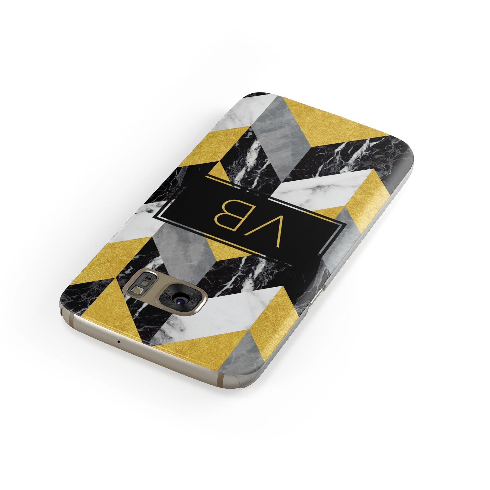 Personalised Marble Effect Initials Samsung Galaxy Case Front Close Up