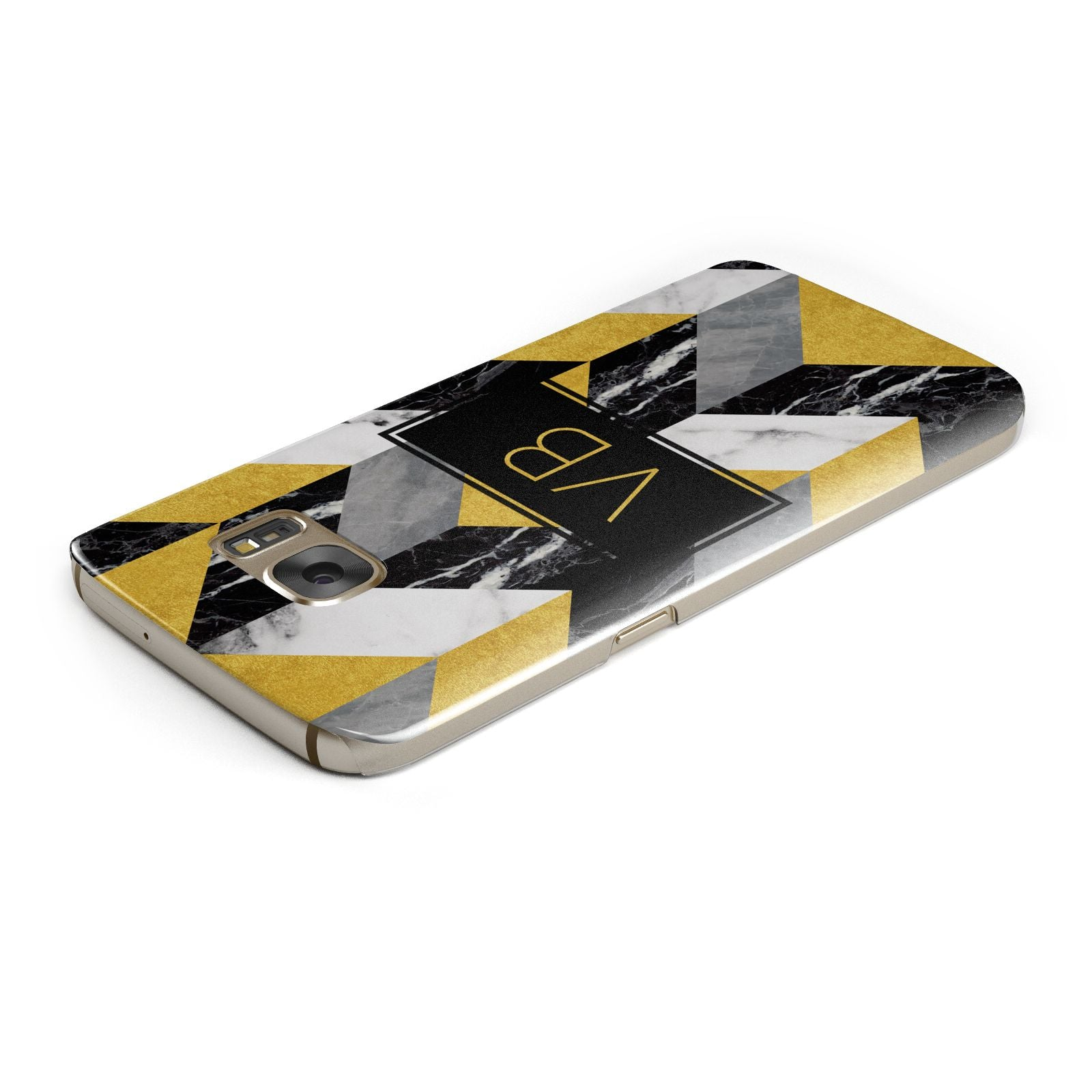 Personalised Marble Effect Initials Samsung Galaxy Case Top Cutout