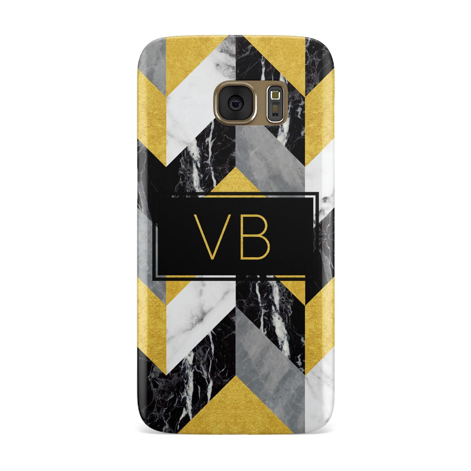 Personalised Marble Effect Initials Samsung Galaxy Case