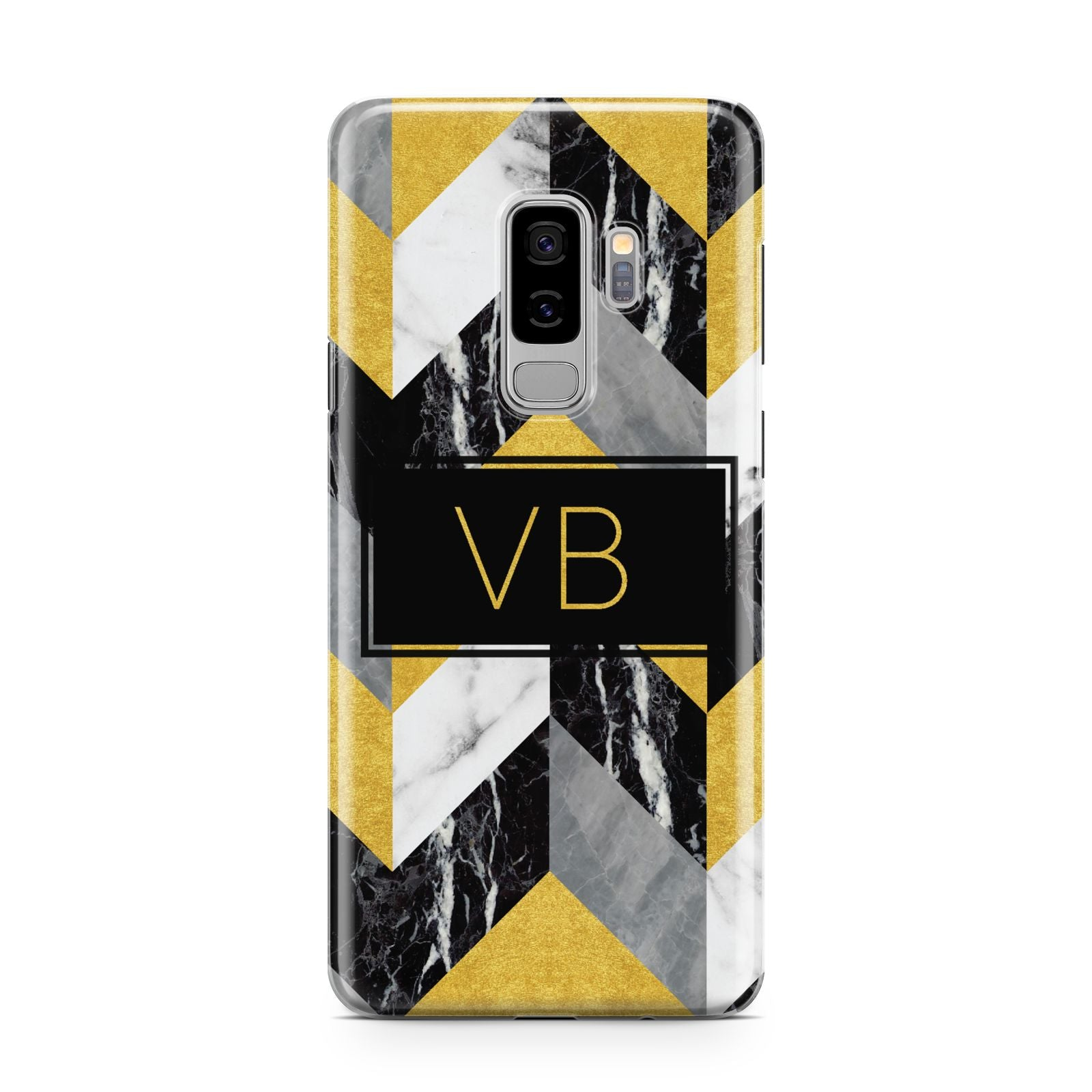 Personalised Marble Effect Initials Samsung Galaxy S9 Plus Case on Silver phone