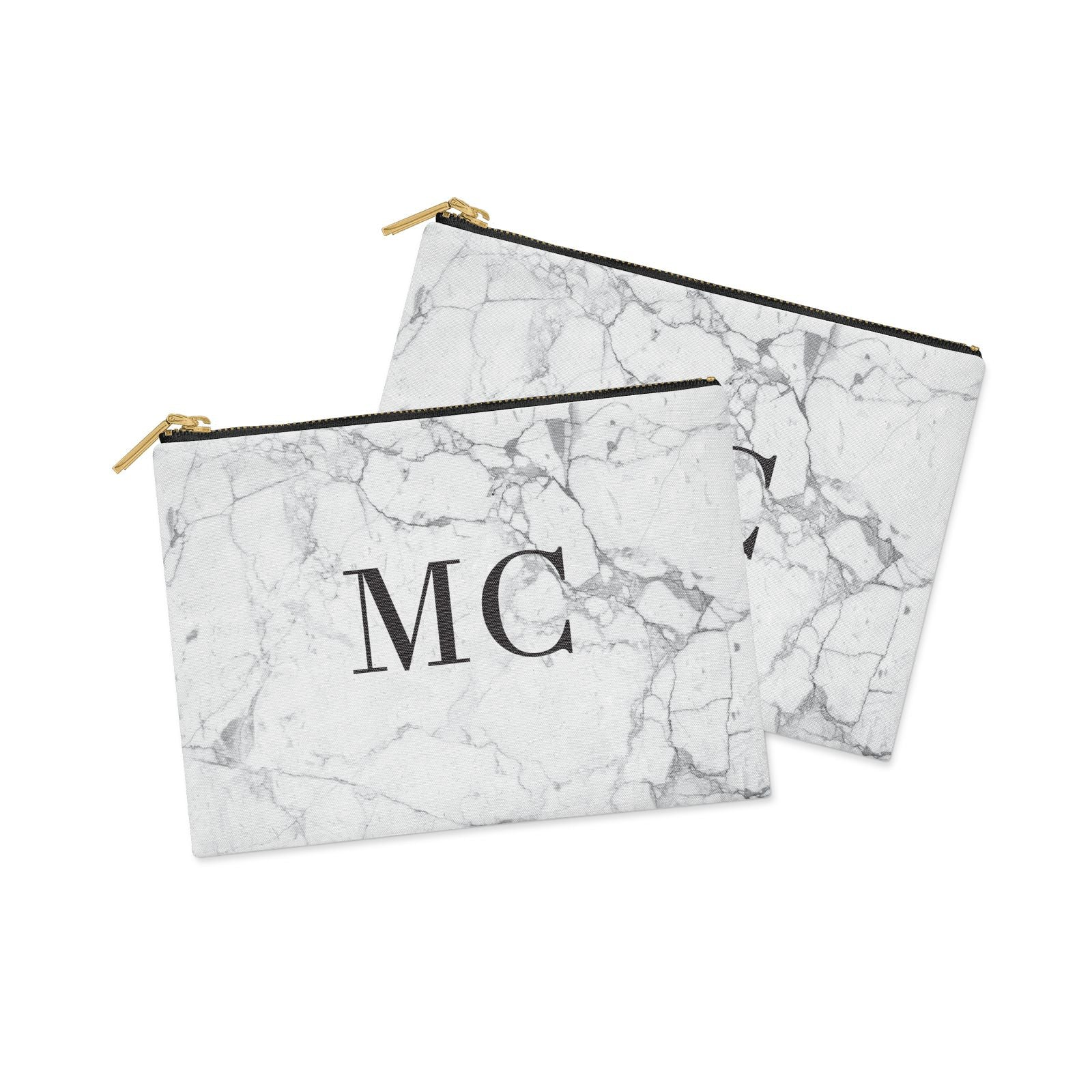 Personalised Marble Initials Clutch Bag Zipper Pouch Alternative View