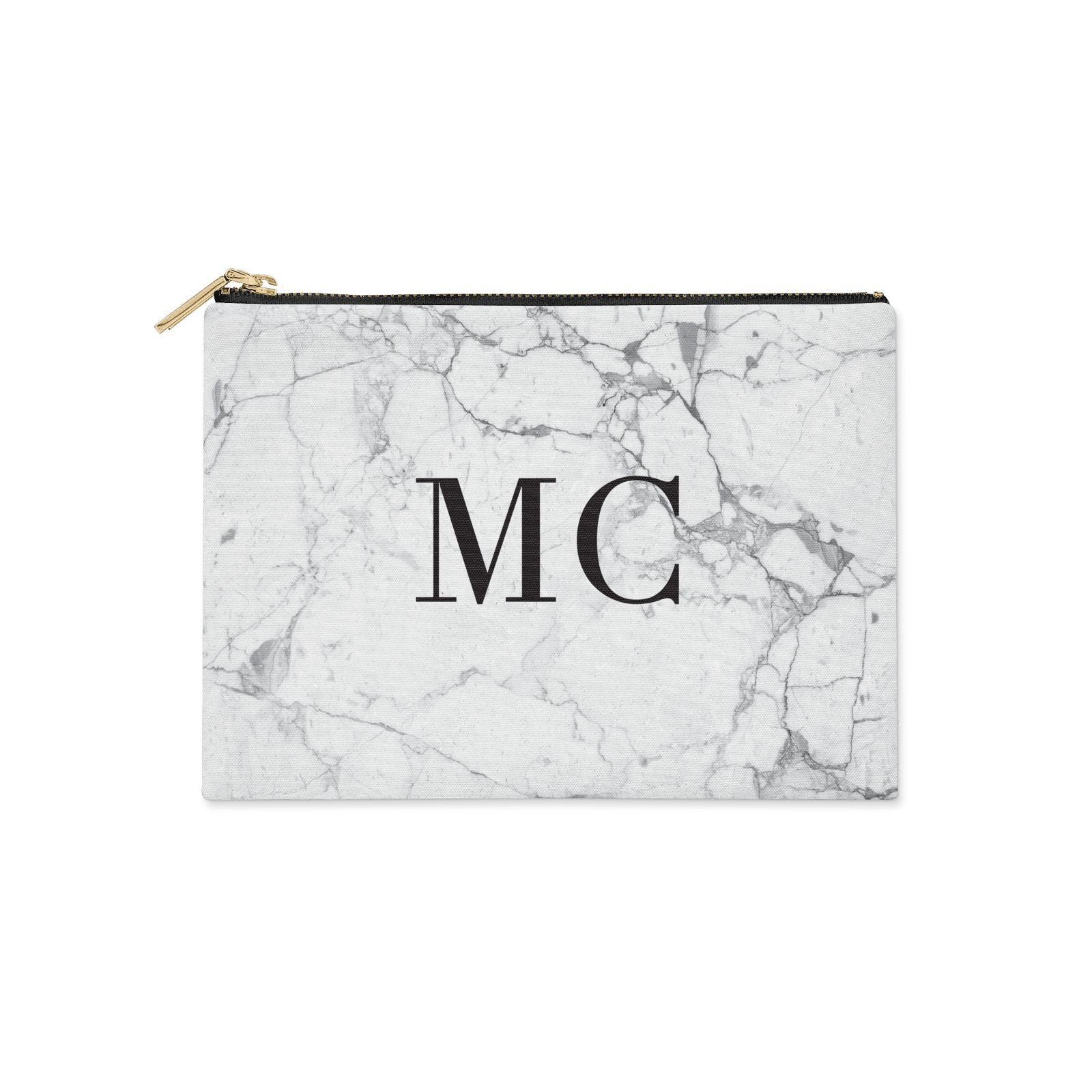 Personalised Marble Initials Clutch Bag Zipper Pouch