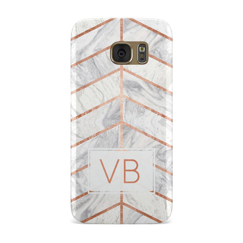 Personalised Marble Initials Shapes Samsung Galaxy Case