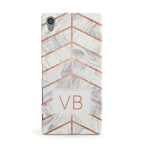Personalised Marble Initials Shapes Sony Xperia Case