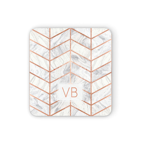 Personalised Marble Initials Shapes Coasters set of 4