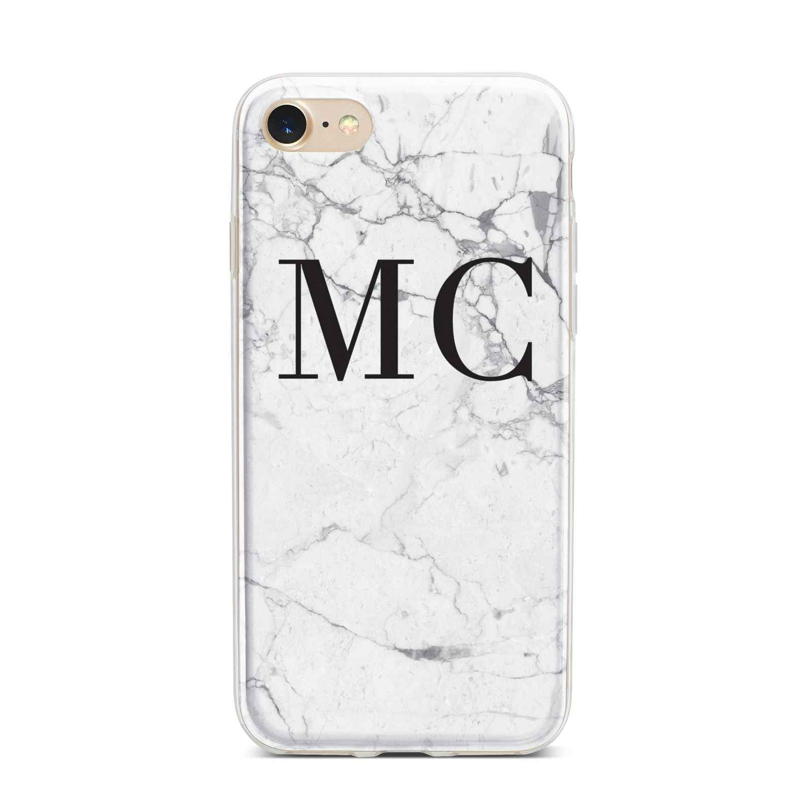 Personalised Marble Initials iPhone 7 Bumper Case on Gold iPhone