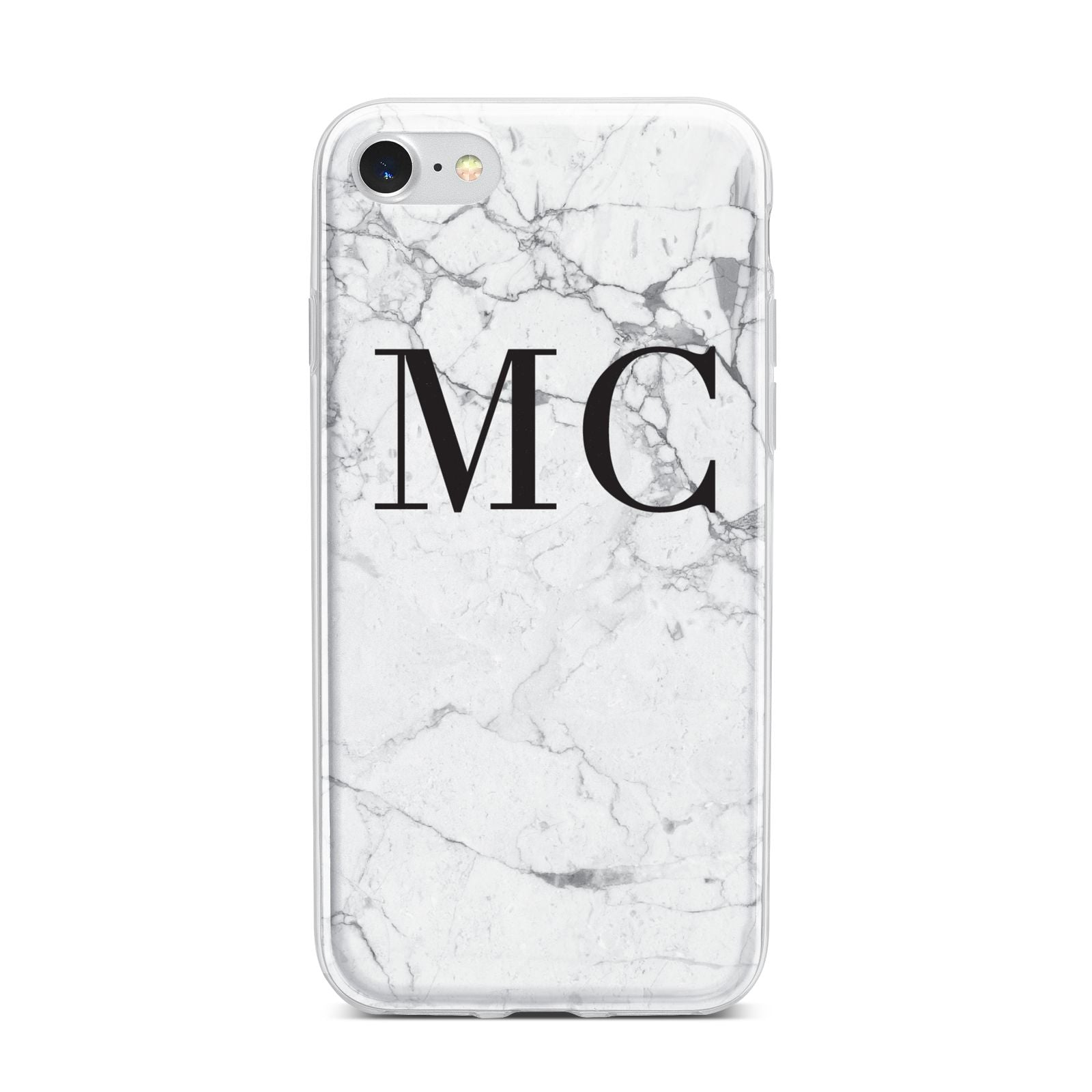 Personalised Marble Initials iPhone 7 Bumper Case on Silver iPhone