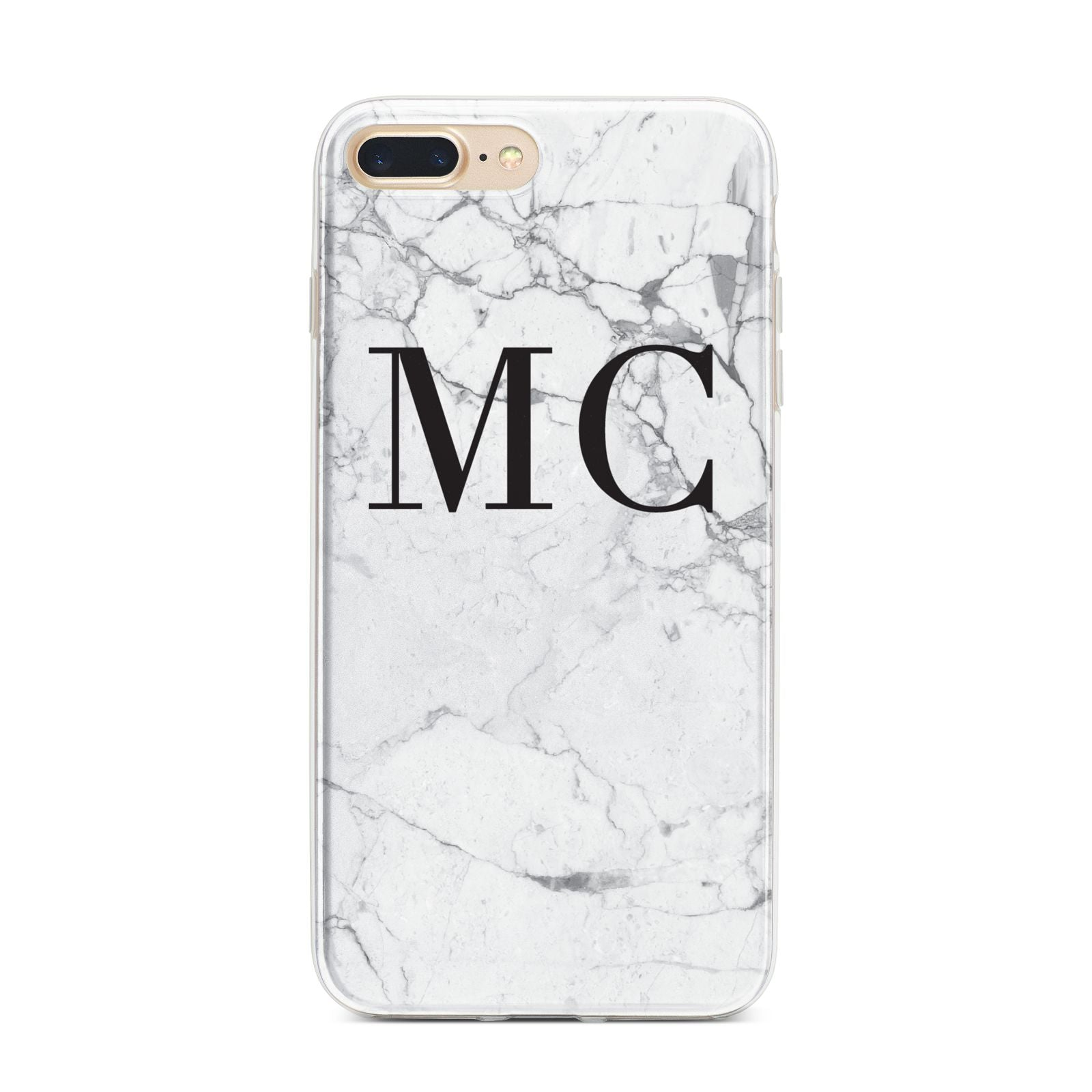 Personalised Marble Initials iPhone 7 Plus Bumper Case on Gold iPhone