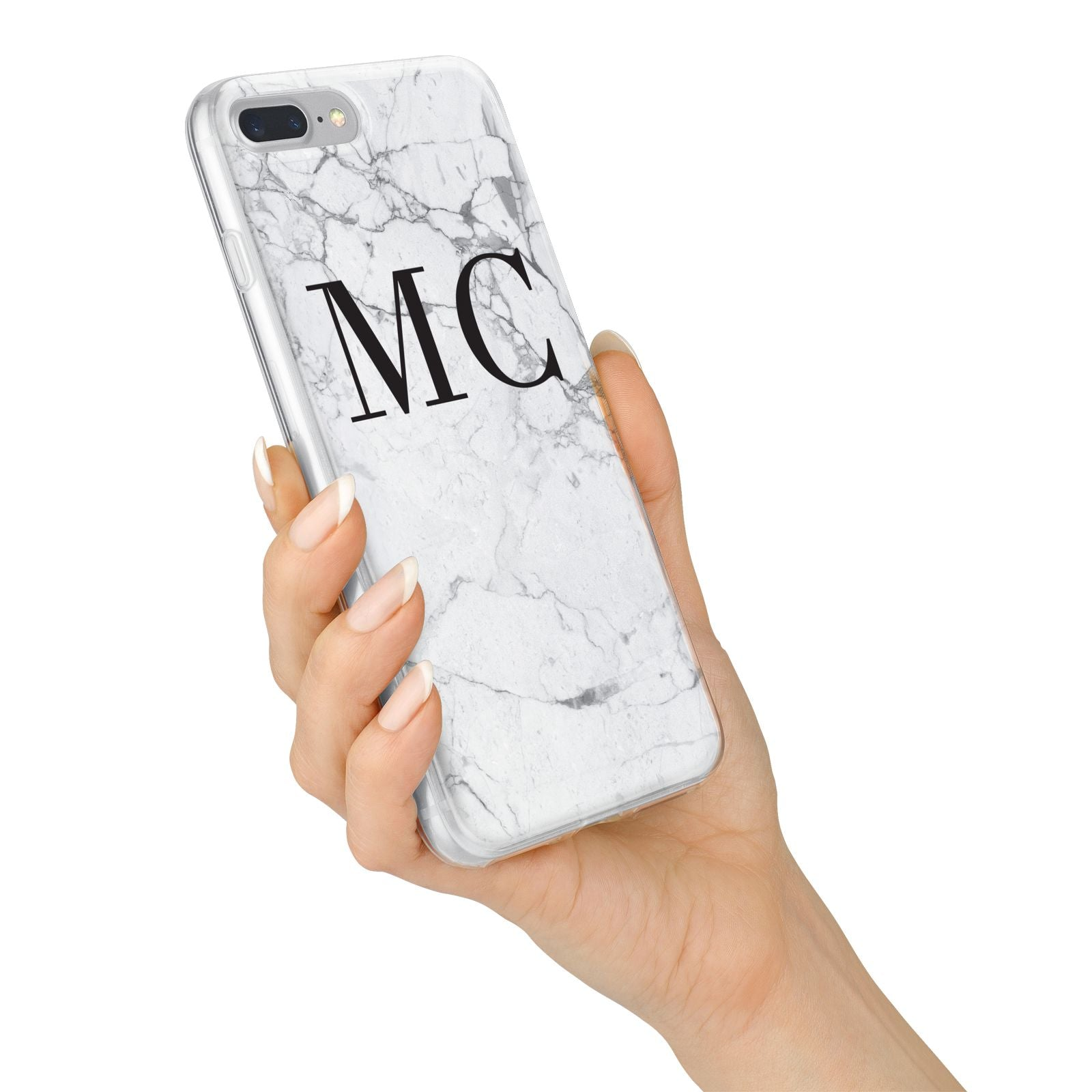 Personalised Marble Initials iPhone 7 Plus Bumper Case on Silver iPhone Alternative Image