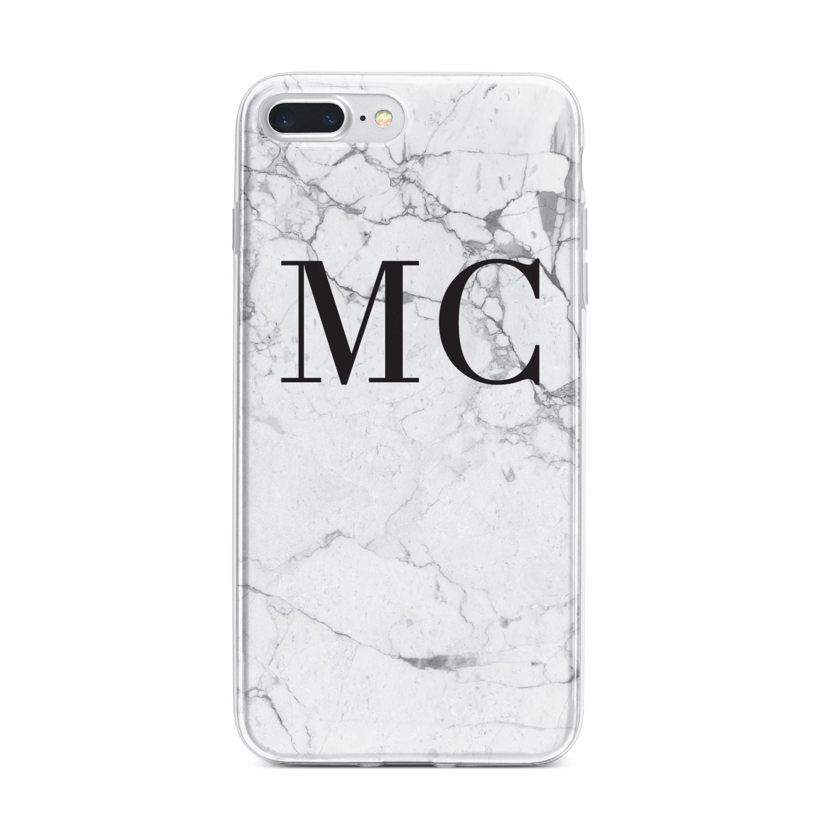Personalised Marble Initials iPhone 7 Plus Bumper Case on Silver iPhone