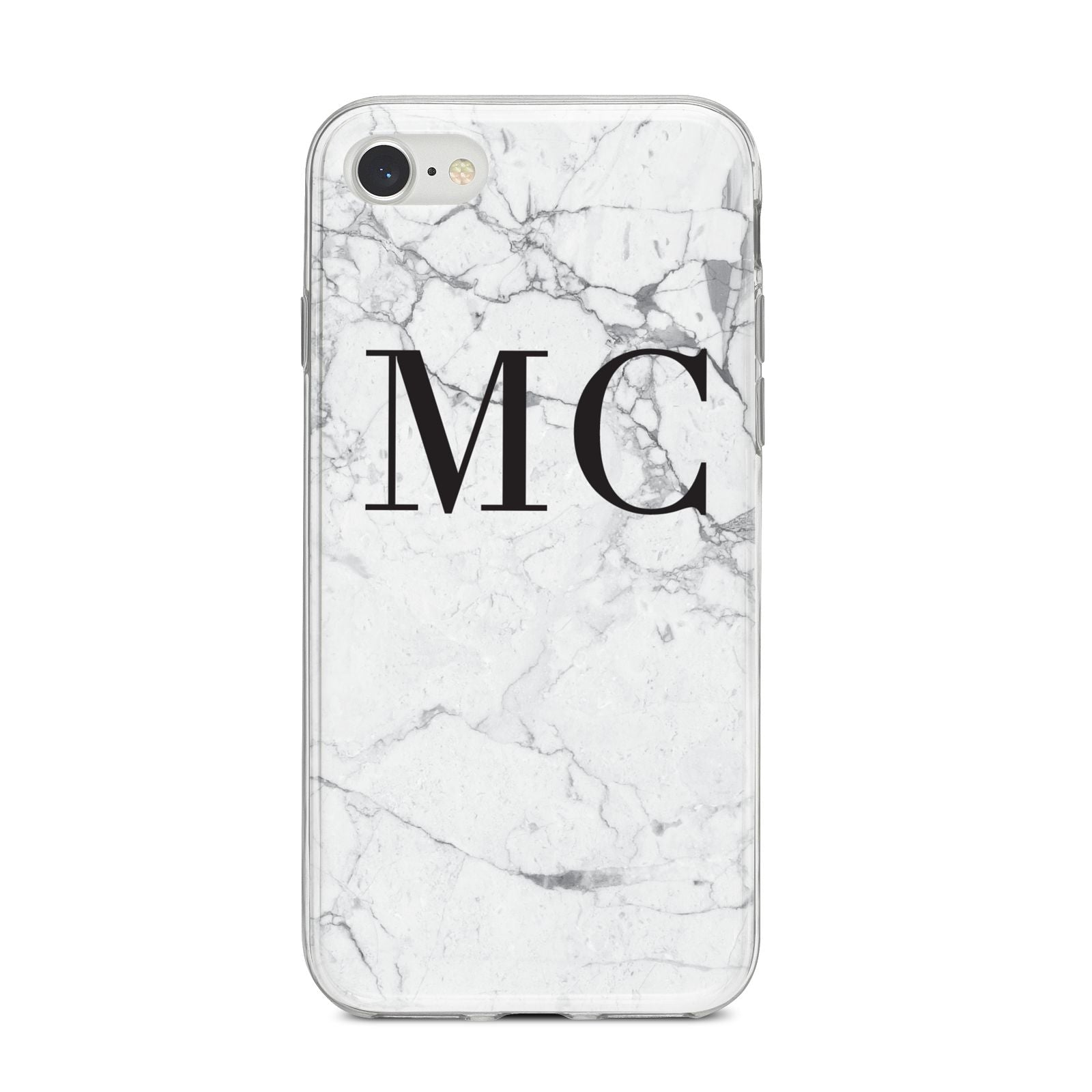 Personalised Marble Initials iPhone 8 Bumper Case on Silver iPhone