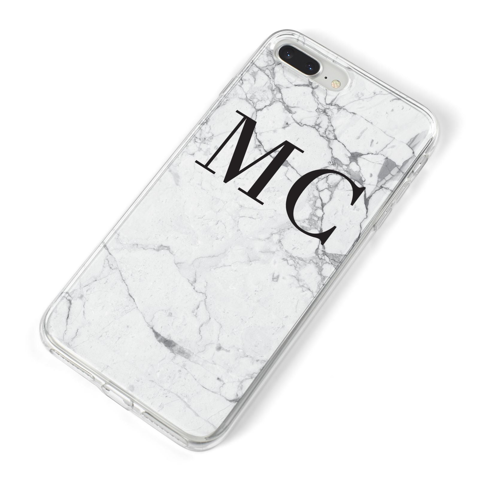 Personalised Marble Initials iPhone 8 Plus Bumper Case on Silver iPhone Alternative Image