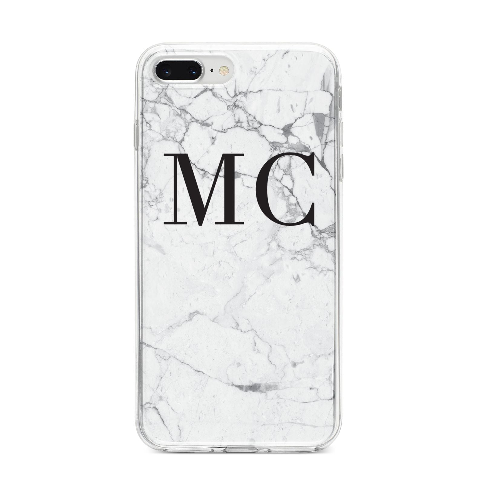 Personalised Marble Initials iPhone 8 Plus Bumper Case on Silver iPhone