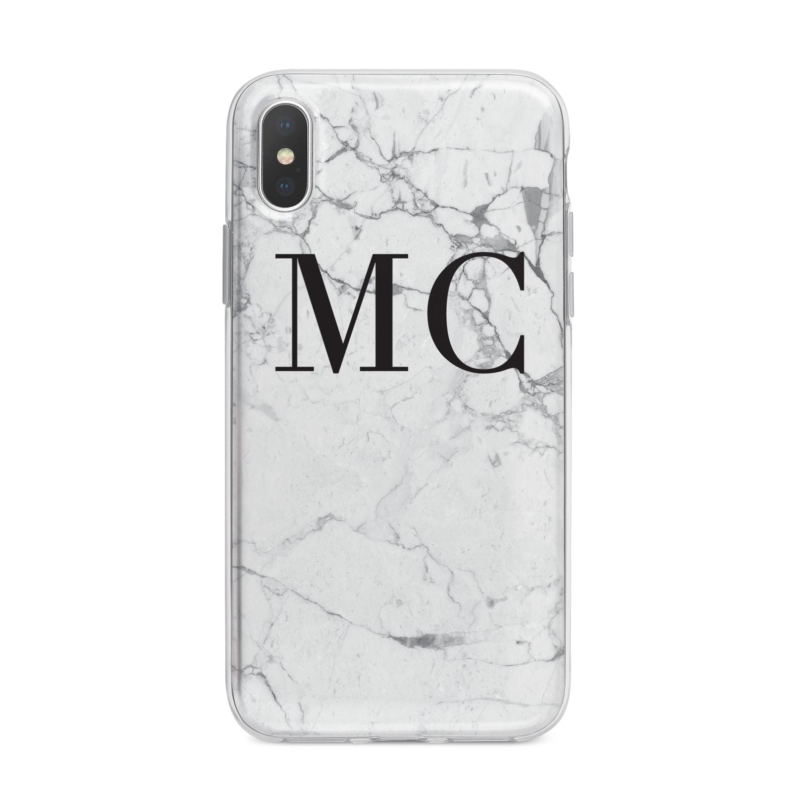 Personalised Marble Initials iPhone X Bumper Case on Silver iPhone Alternative Image 1