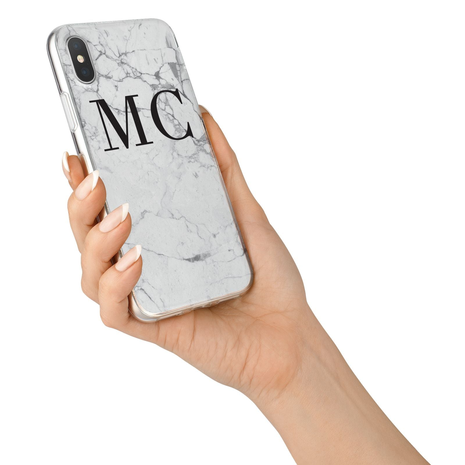 Personalised Marble Initials iPhone X Bumper Case on Silver iPhone Alternative Image 2