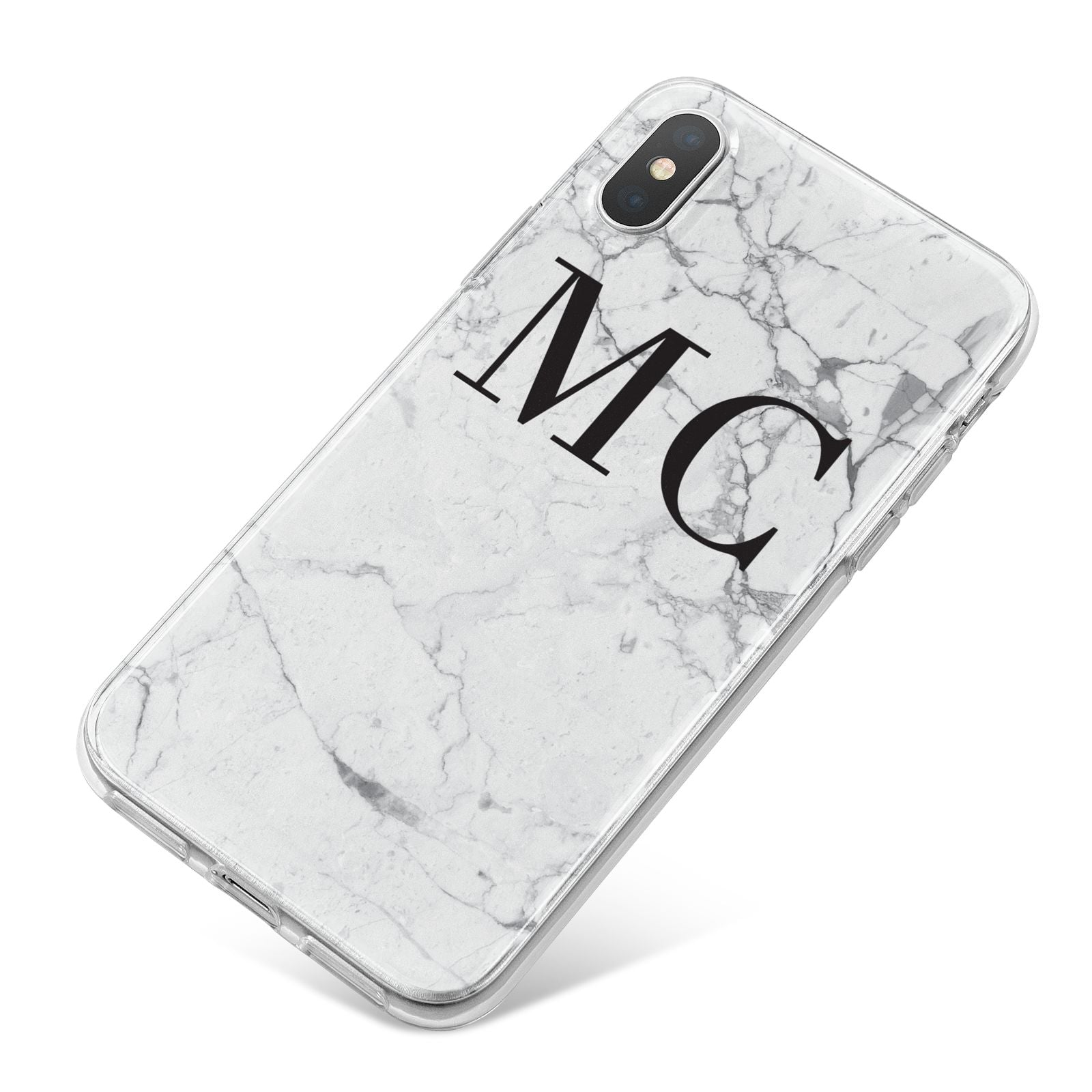 Personalised Marble Initials iPhone X Bumper Case on Silver iPhone