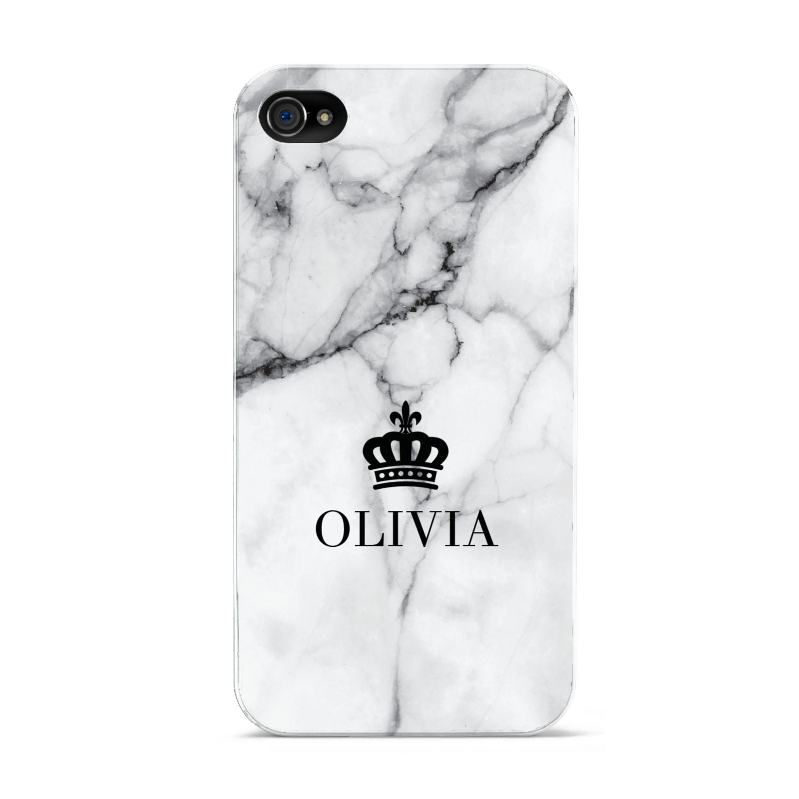 Personalised Marble Name Crown Apple iPhone 4s Case