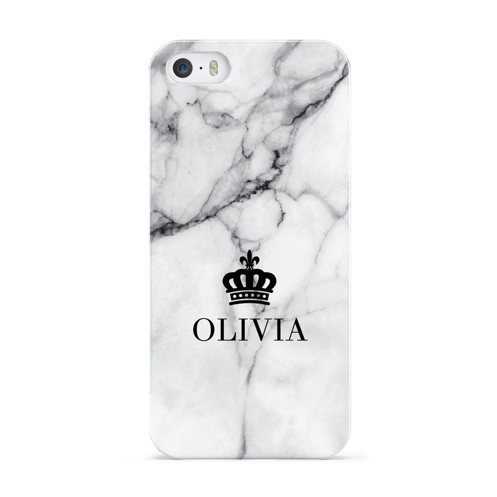 Personalised Marble Name Crown Apple iPhone 5 Case